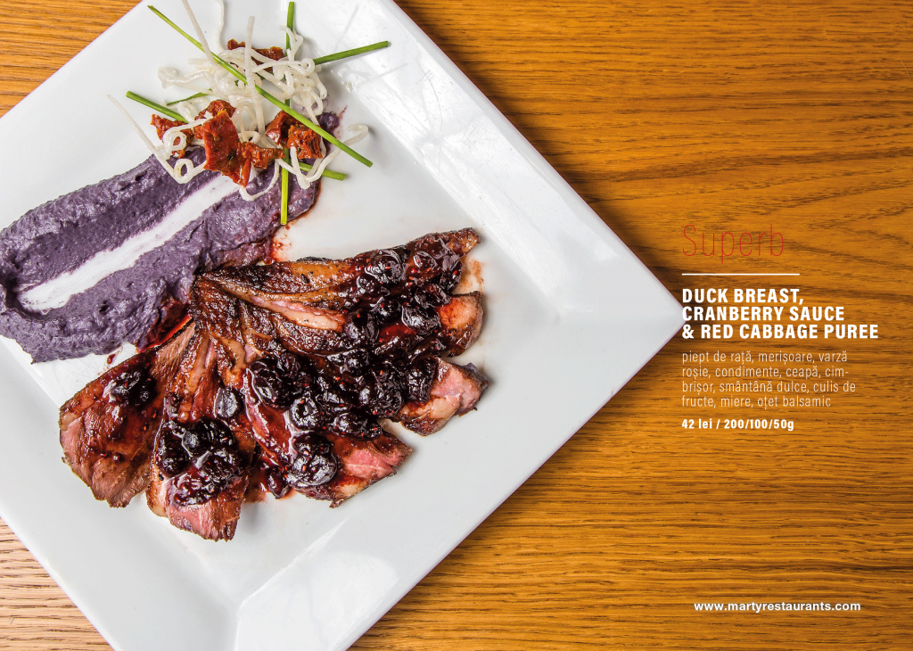 Duck-Breast,-cranberry-sauce-and-red-cabbage-puree